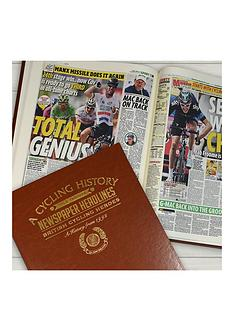 personalised-cycling-heros-newspaper-a3-book-brown-leatherette-covercolour-print