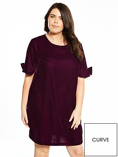 v-by-very-curve-velvet-bow-sleeve-tunic-dress
