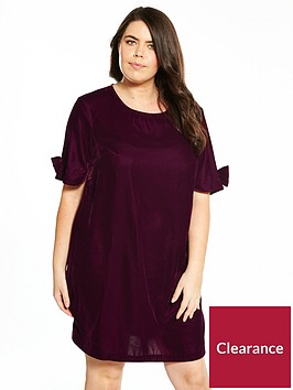 v-by-very-curve-velvet-bow-sleeve-tunic-dress