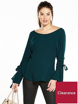 v-by-very-ruched-sleeve-blouse