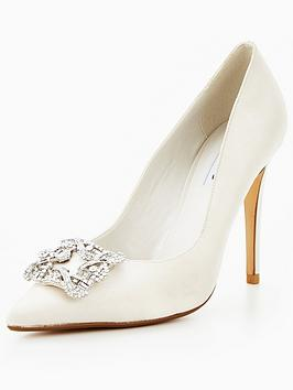 Dune London Breanna Wedding Brooch Court Shoe - Ivory