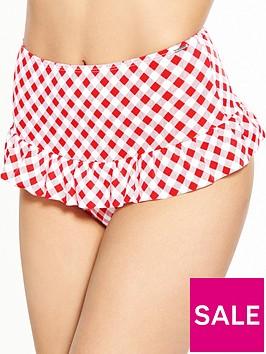 boux-avenue-hollywood-gingham-high-waist-bikini-brief-red