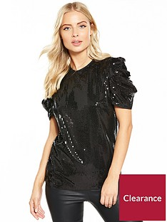 v-by-very-ruched-sleeve-sequin-bow-back-top-black