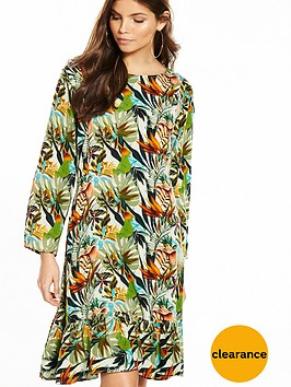 yas-tropical-print-long-sleeve-dress-with-fluted-hem