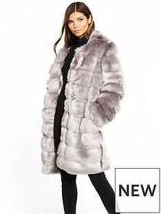 yas-fauxnbspfur-jacket-grey