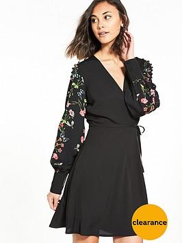 vero-moda-ivy-long-sleeve-wrap-dress-black