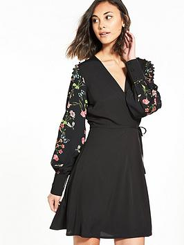 Vero Moda Ivy Long Sleeve Wrap Dress - Black