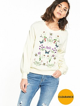 vero-moda-petite-petal-long-sleeve-stud-sweat-white