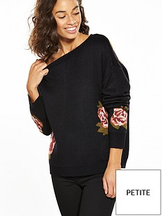 vero-moda-petite-belmont-long-sleeve-flower-knit-black
