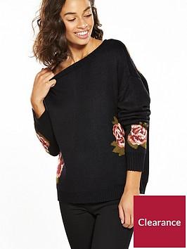 vero-moda-petite-belmont-long-sleeve-flower-knit-black