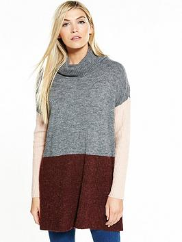 Vero Moda Fortuna Long Sleeve Longline Roll Neck Jumper