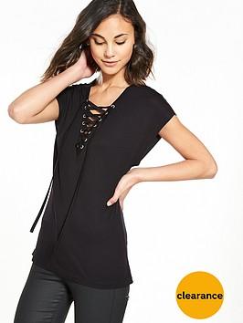 vero-moda-rykiel-sleeveless-lace-up-top-black