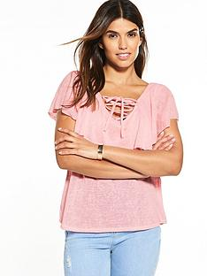 v-by-very-frill-tie-up-front-top-baby-pink