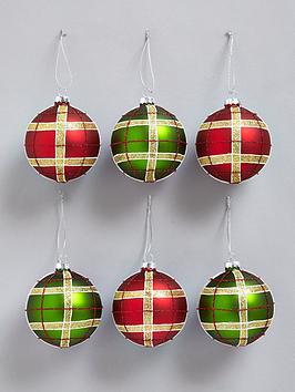 tartan-christmas-tree-baubles-6-pack