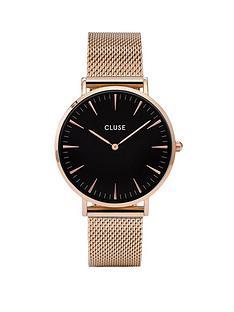 cluse-cluse-la-bohegraveme-rose-gold-black-dial-mesh-strap-ladies-watch