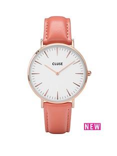 cluse-la-bohegravemenbsprose-gold-flamingo-pink-leather-strap-ladies-watch