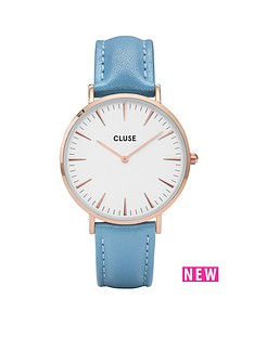 cluse-la-bohegravemenbsprose-gold-retro-blue-leather-strap-ladies-watch
