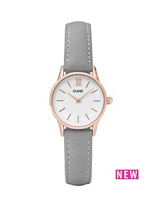 cluse-la-vedettenbsprose-gold-grey-leather-strap-ladies-watch