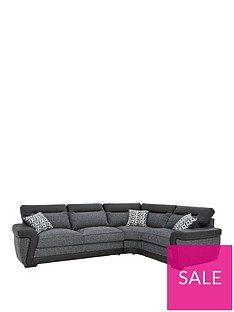 Geo Fabric and Faux Leather Right-Hand Corner Group Sofa Bed ...