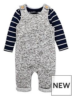 mini-v-by-very-baby-grey-marl-dungaree-amp-stripe-bodysuit-set