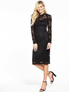 vila-stasia-long-sleeve-lace-dress-black