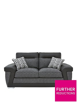 geo-fabric-and-faux-leather-2-seater-sofa