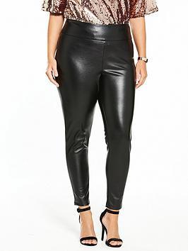 V By Very Curve Body Sculpt Pu Zip Detail Trouser