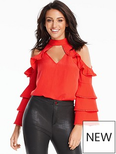 michelle-keegan-trim-detail-layered-cold-shoulder-blouse