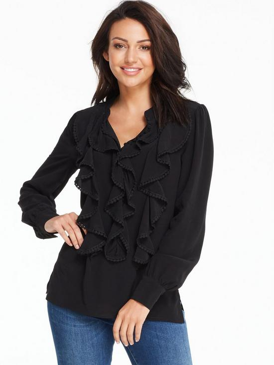 Michelle Keegan Pom Pom Trim Ruffle Front Blouse Very Co Uk
