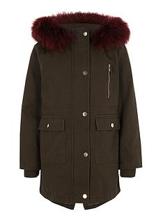 river-island-girls-khaki-faux-fur-trim-parka-coat
