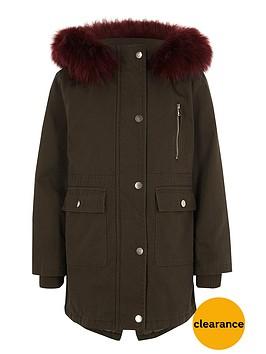 river-island-girls-khaki-faux-fur-trim-parka-coat