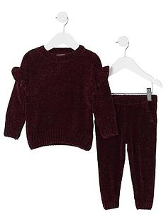 river-island-mini-girls-burgundy-chenille-jumper-outfit
