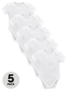 v-by-very-baby-unisex-5-pack-short-sleeve-bodysuits-white