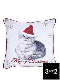 catherine-lansfield-christmas-cat-cushion