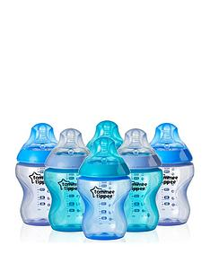 tommee-tippee-tommee-tippee-closer-to-nature-6x260ml9floz-colour-my-world-boy-feeding-bottles