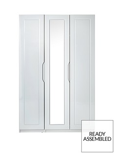 Milan 3 Door High Gloss Mirrored Wardrobe