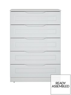 Milan Ready Assembled High Gloss 5 Drawer Chest