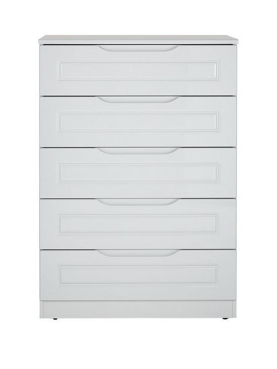milan ready assembled high gloss 5 drawer chest