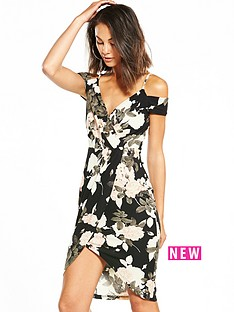 ax-paris-cold-shoulder-printed-wrap-front-dress