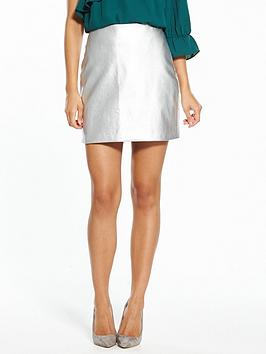 Fashion Union Mel Silver Pu Skirt