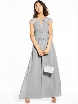 Little Mistress Cap Sleeve Embellished Maxi Dress - Grey