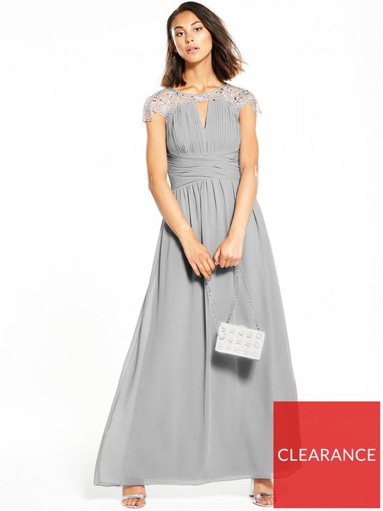 275ed7b6edb Little Mistress Cap Sleeve Embellished Maxi Dress - Grey