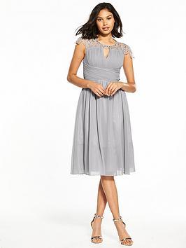 Little Mistress Cap Sleeve Midi Dress - Grey