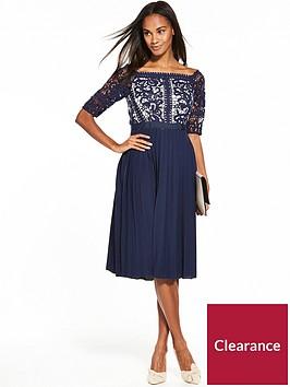 little-mistress-floral-crochet-pleated-hem-dress