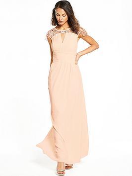 Little Mistress Cap Sleeve Embellished Maxi Dress - Nude
