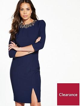 little-mistress-embellished-trim-pencil-dress