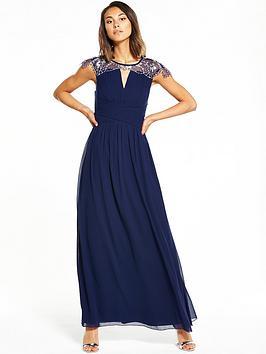 Little Mistress Cap Sleeve Embellished Maxi Dress - Navy