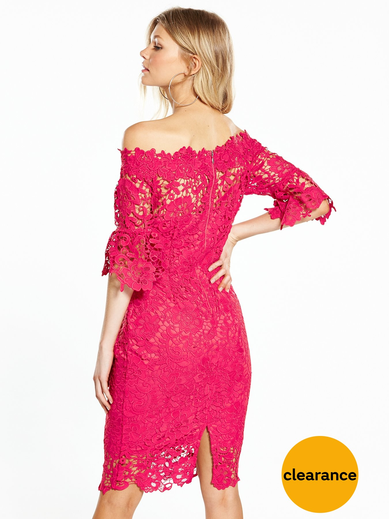 Paper Dolls Soft Lace High Neck Fluted Sleeve Dress - Coral Pink CORAL_PINK BVYOKJ