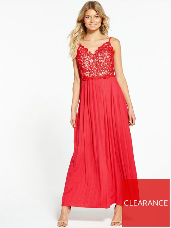 c9b0f094f9 Little Mistress Petite Pleated Maxi Dress - Red