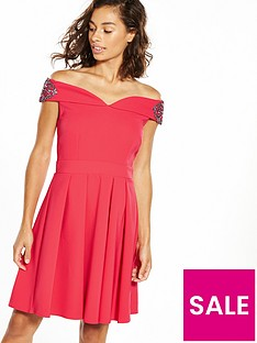 little-mistress-petite-off-shoulder-wrap-midi-dress